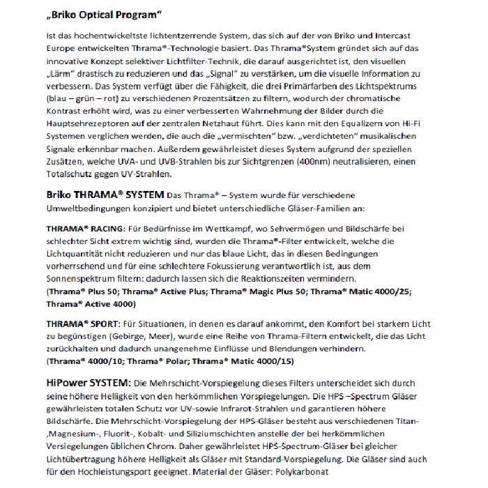 Briko Gläser Informationen